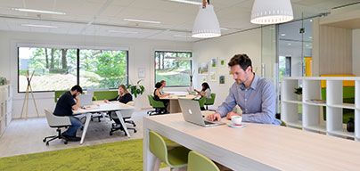 Unreserved co-working space, hot desking on a first come, first served basis