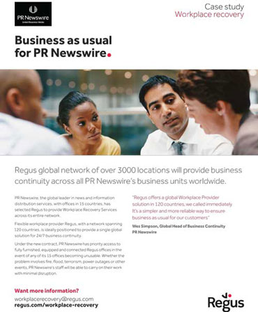 Regus Disaster Recovery Service Example - PR Newswire